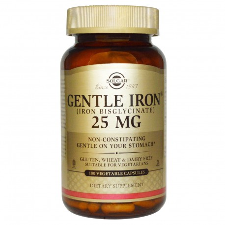 Железо, Gentle Iron, Solgar, 25 мг, 180 капсул