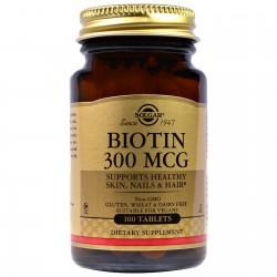Solgar, Биотин, 300 мкг, 100 таблеток