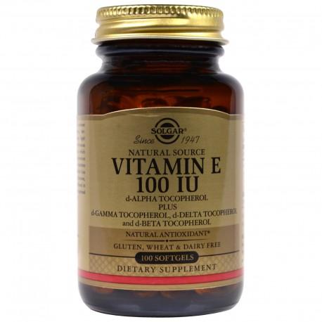 Витамин Е, Vitamin E, Solgar, 100 МЕ, 100 капсул