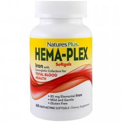 Nature's Plus, Hema-Plex, питательная добавка для здорового кровообращения, 60 растительных капсул