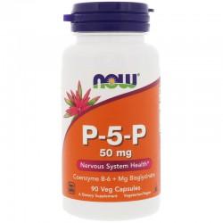 Now Foods, Магний и витамин В6.  P-5-P, 50 мг, 90 вегетарианских капсул