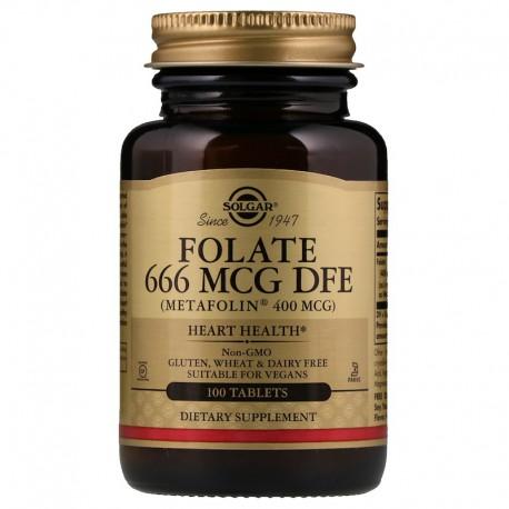 Фолиевая кислота, Folate (As Metafolin), Solgar, Метафолин 400, 100 табл.