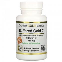 California Gold Nutrition, буферизованный витамин C в капсулах, 750 мг, 60 растительных капсул