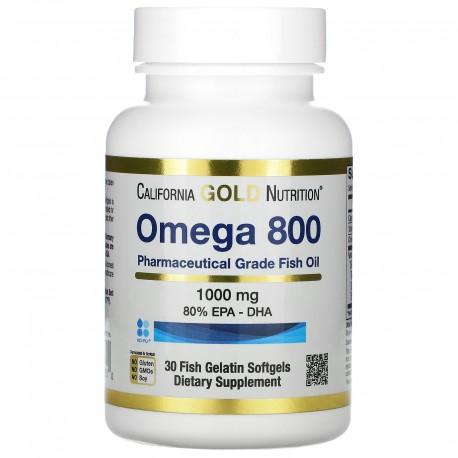 California Gold Nutrition, омега 800, рыбий жир фармацевтической степени чистоты, 80% ЭПК/ДГК, 1000 мг, 30  капсул
