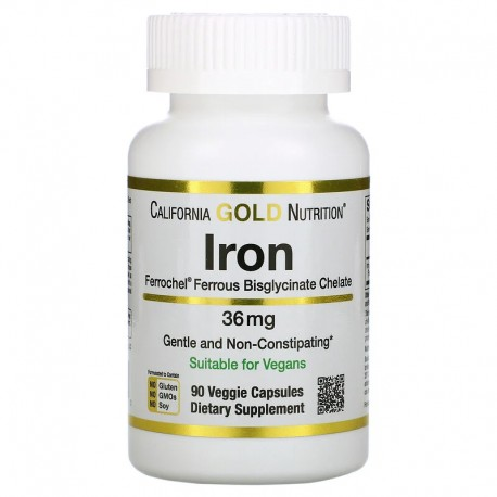 California Gold Nutrition, Ferrochel, железо (бисглицинат), 36 мг, 90 растительных капсул