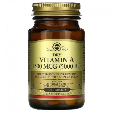Solgar, витамин А в таблетках, 1500 мкг (5000 МЕ), 100 таблеток