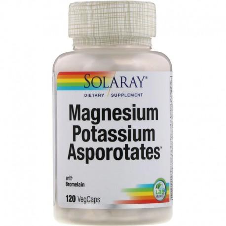 Solaray, Magnesium Potassium Asporotates, аспартат магния и калия, 120 растительных капсул