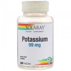 Solaray, Калий, 99 мг, 200 растительных капсул.