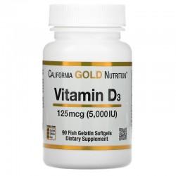 California Gold Nutrition, витамин D3, 125 мкг (5000 МЕ), 90 капсул из рыбьего желатина