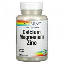 кальций, магний и цинк, Solaray, 100 растительных капсул