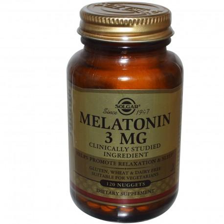 Мелатонин, Melatonin, Solgar, 3 мг, 120 жевательных таблеток