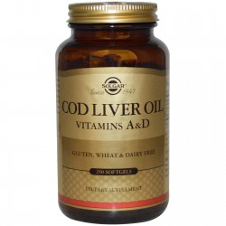 Solgar, Norwegian Cod Liver Oil, Норенжский рыбий жир, 250 Softgels