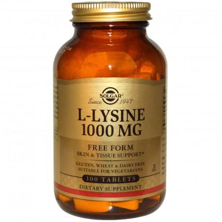 L- лизин, L-Lysine, Solgar, 1000 мг, 100 таблеток